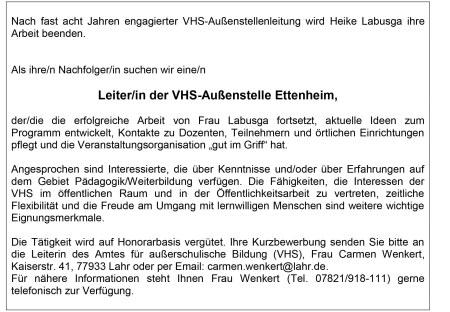 KW 48 und 49 Volkshochschule Außenstellenleiter/in